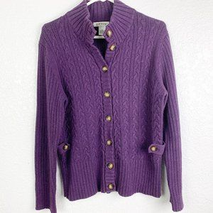 Orvis SIze Small Purple Cable Knit Cardigan